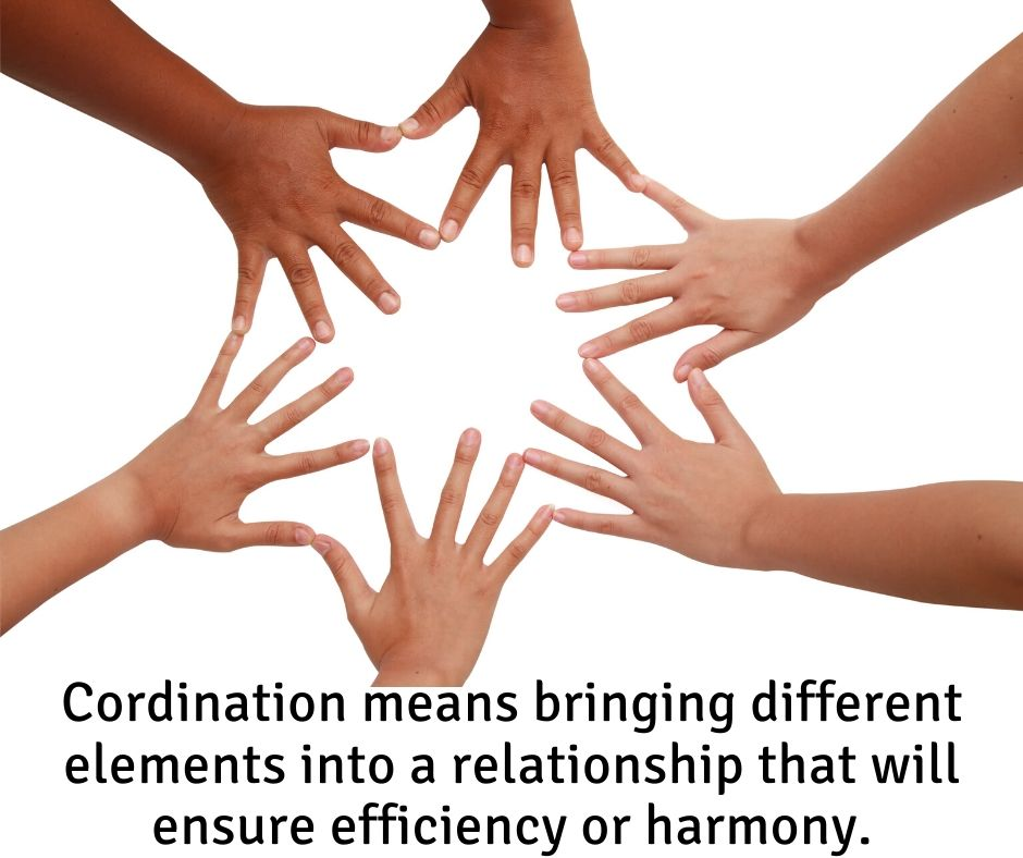 6 hands coming together to demonstrate coordination