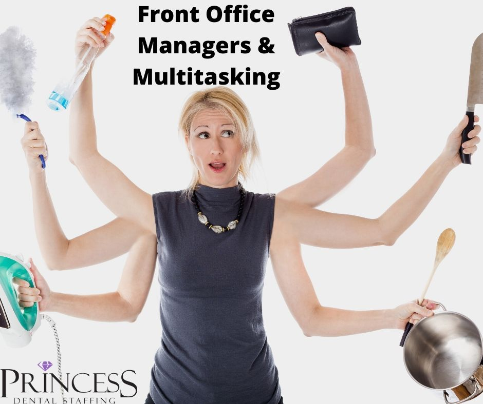 Woman with six arms multitasks