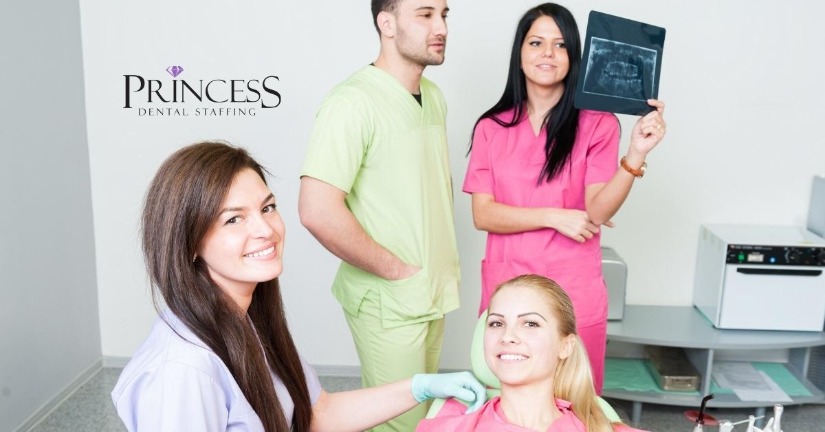 4 dental assistants work together